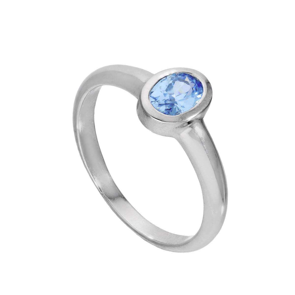Sterling Silver & Tanzanite CZ Crystal Oval December Birthstone Ring Sizes J - U