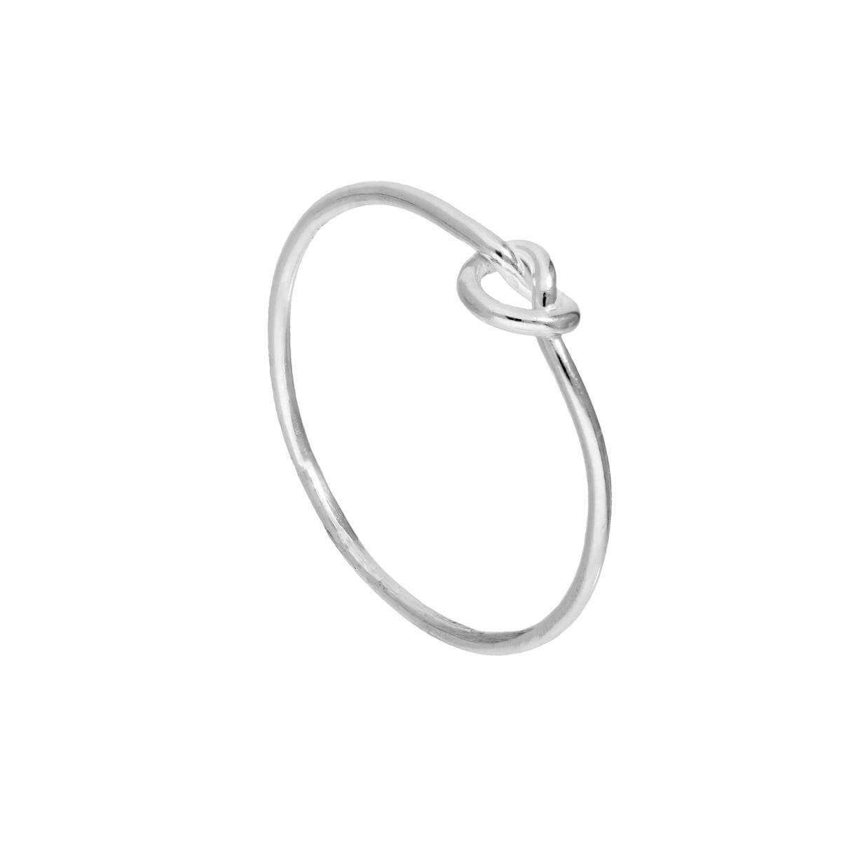 Sterling Silver Heart Knot Ring Sizes J - V
