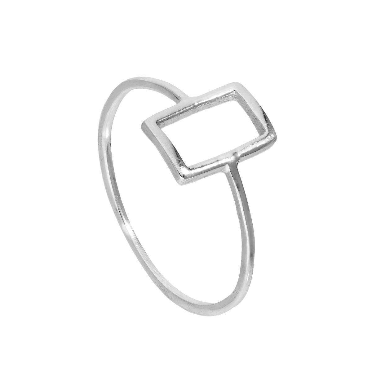 Sterling Silver Open Rectangle Ring Sizes J - V