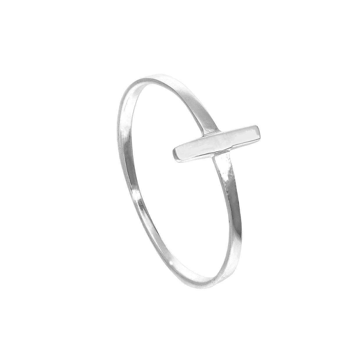 Sterling Silver T Bar Stacking Ring Sizes J - V