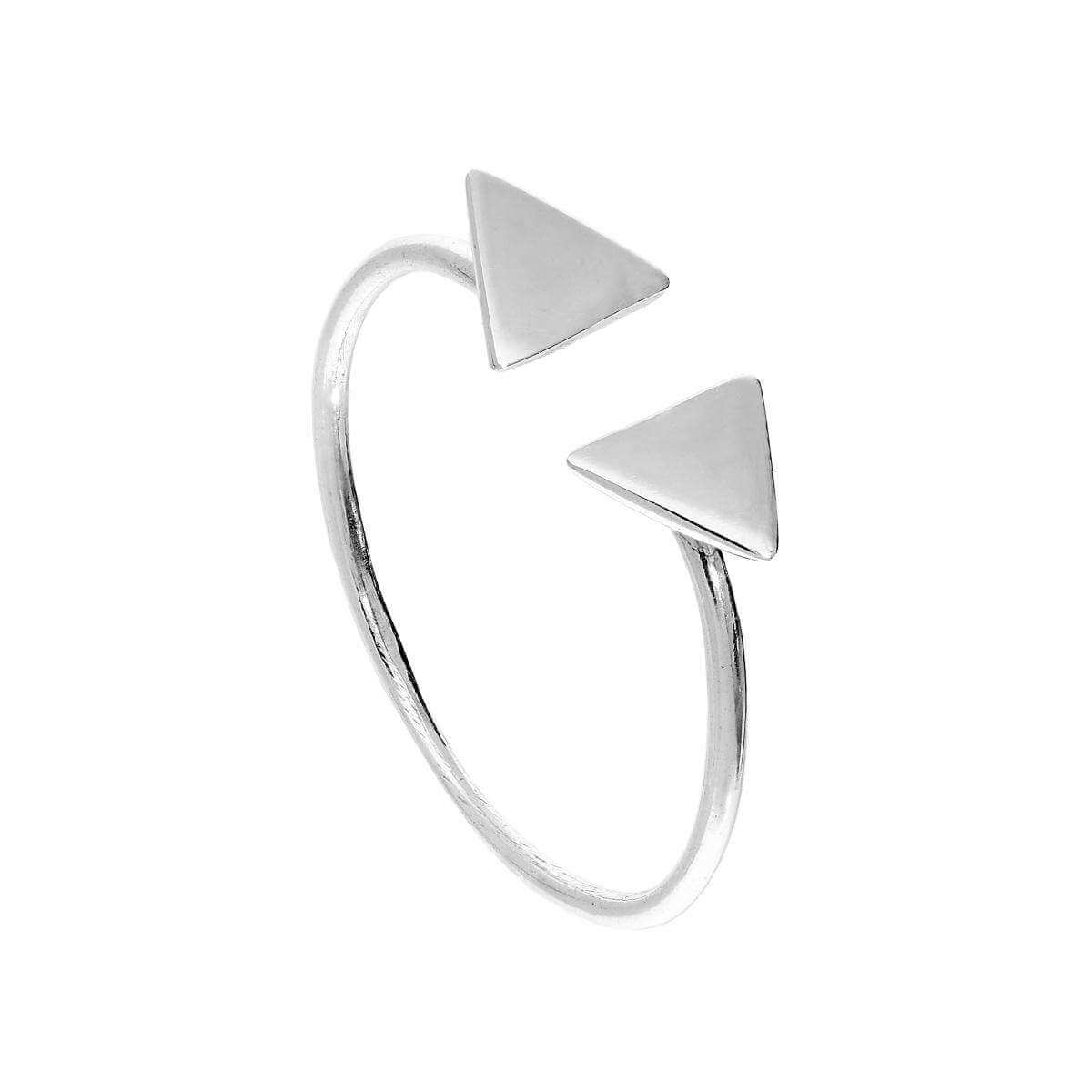 Sterling Silver Adjustable Double Triangles Stacking Ring Sizes J - V