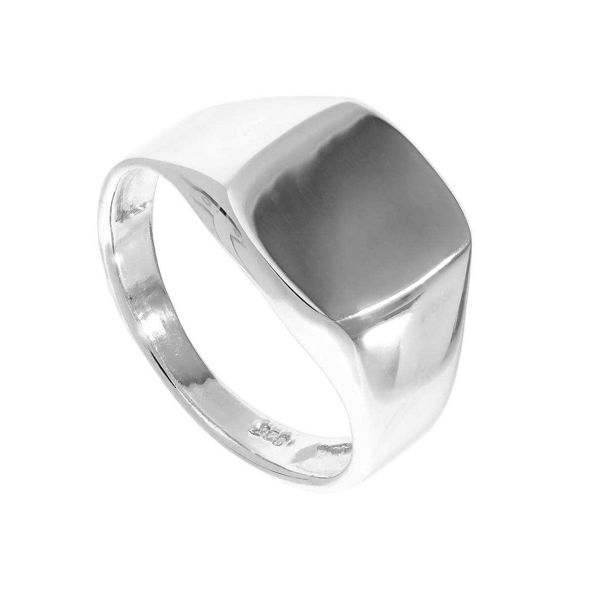 Sterling Silver Engravable Mens Signet Ring Sizes M - Z+1