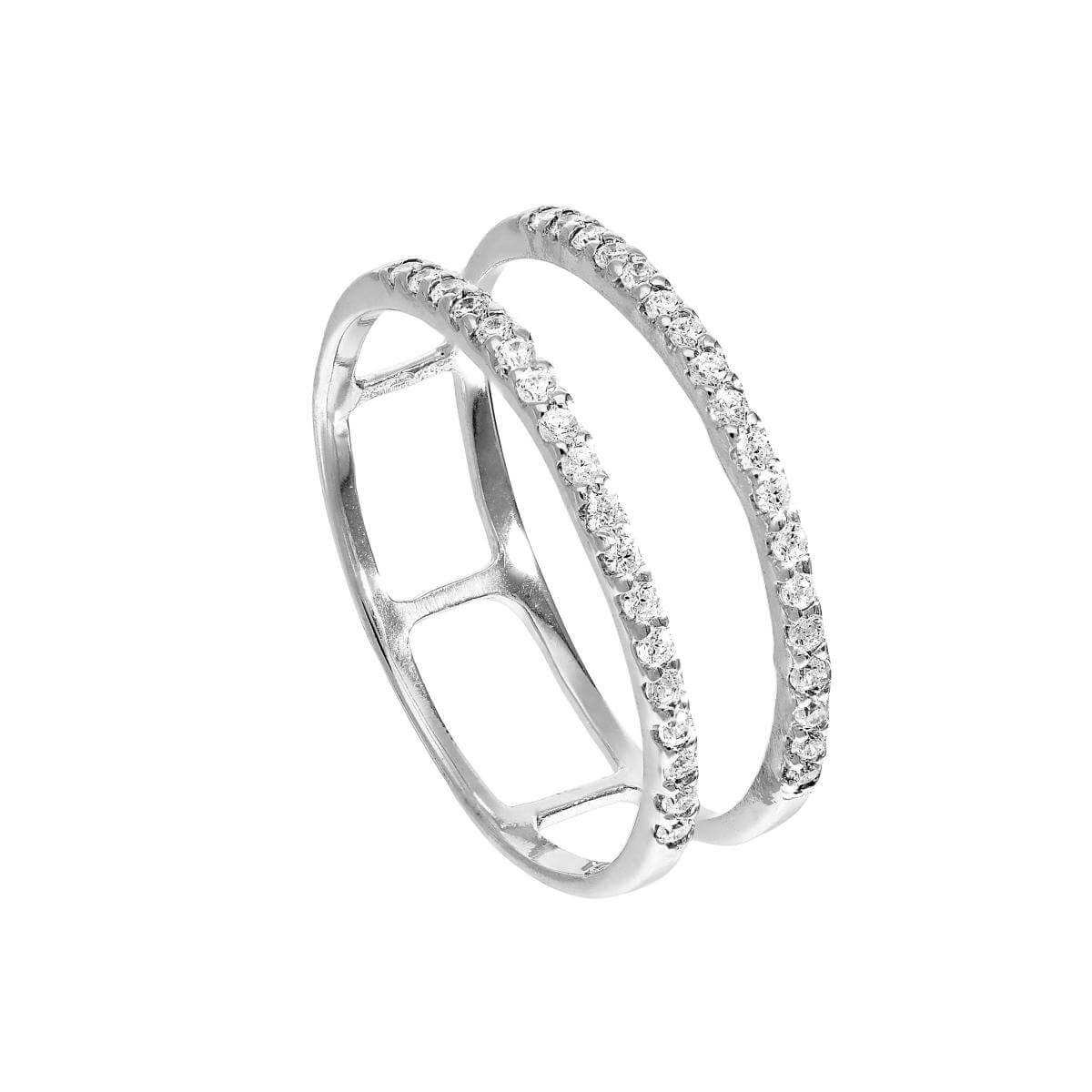 Sterling Silver & Clear CZ Crystal Double Band Ring Sizes J - V