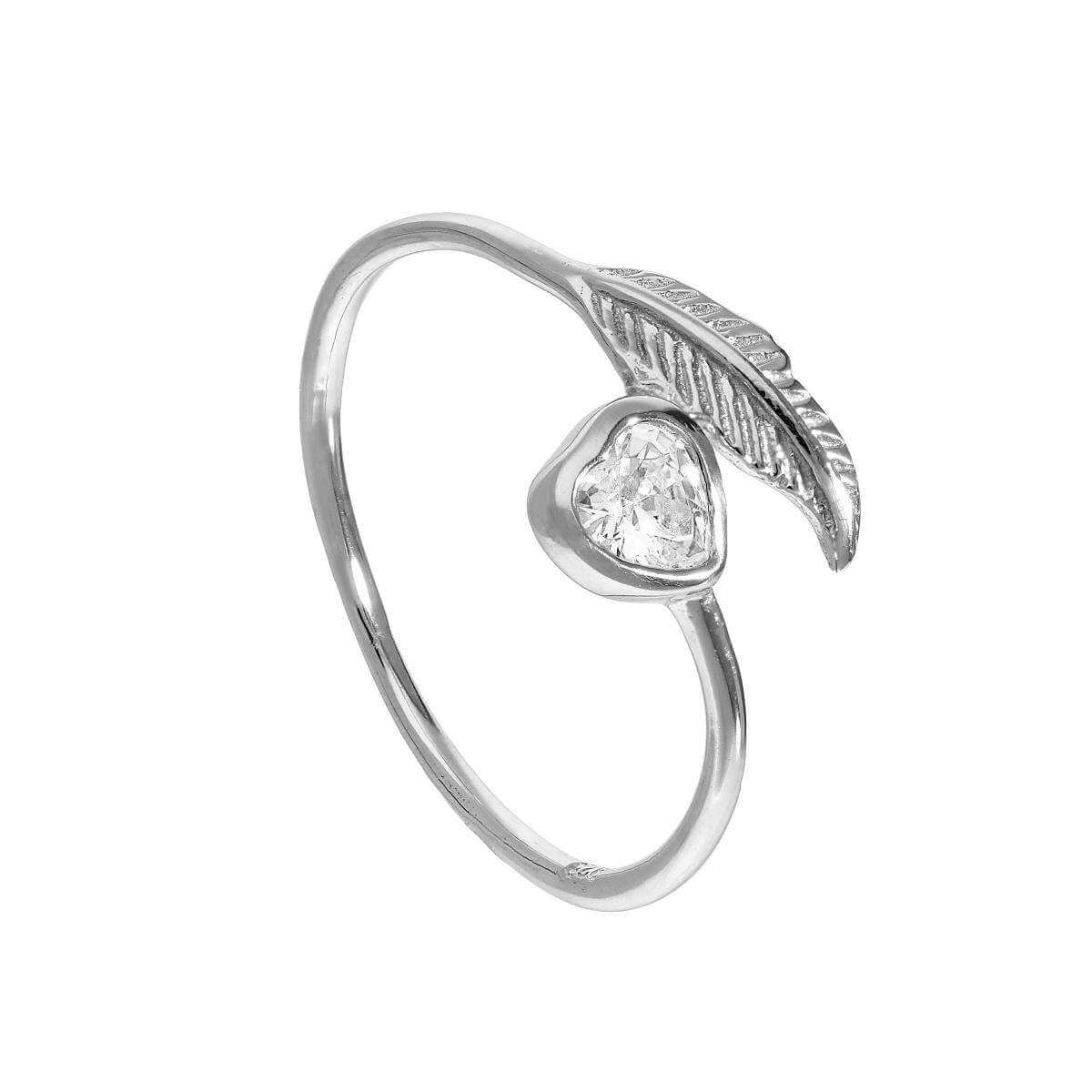 Sterling Silver & Clear CZ Crystal Heart & Leaf Ring Sizes J - U