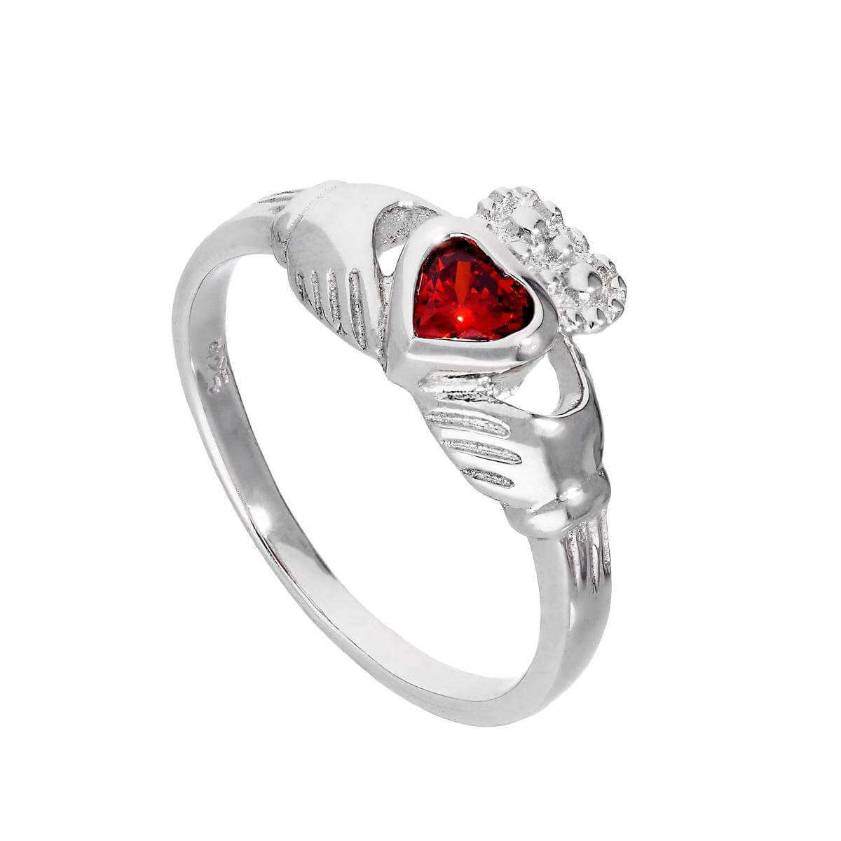 Sterling Silver & Garnet CZ Crystal January Birthstone Claddagh Ring Sizes I - U