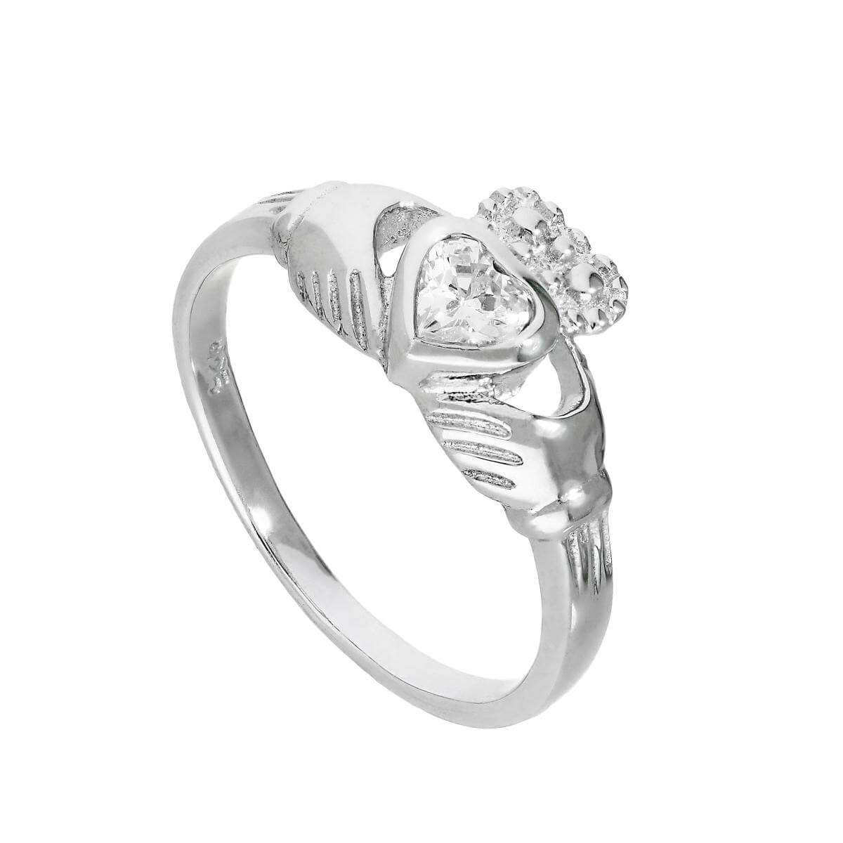 Sterling Silver & Clear CZ Crystal April Birthstone Claddagh Ring Sizes I - U