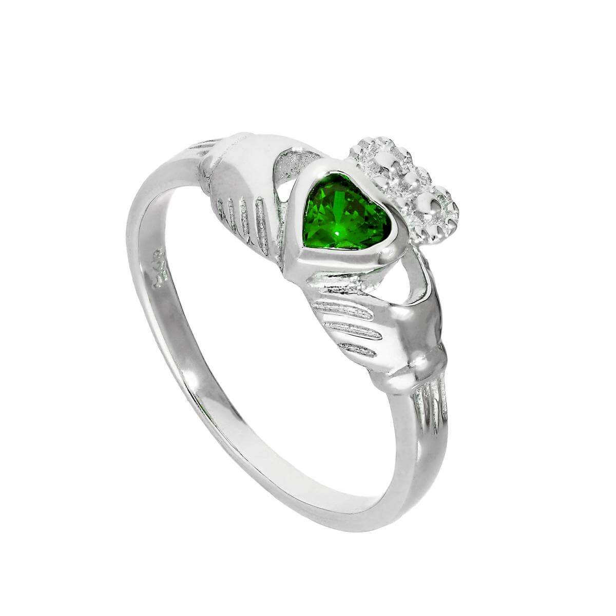 Sterling Silver & Emerald CZ Crystal May Birthstone Claddagh Ring Sizes I - U