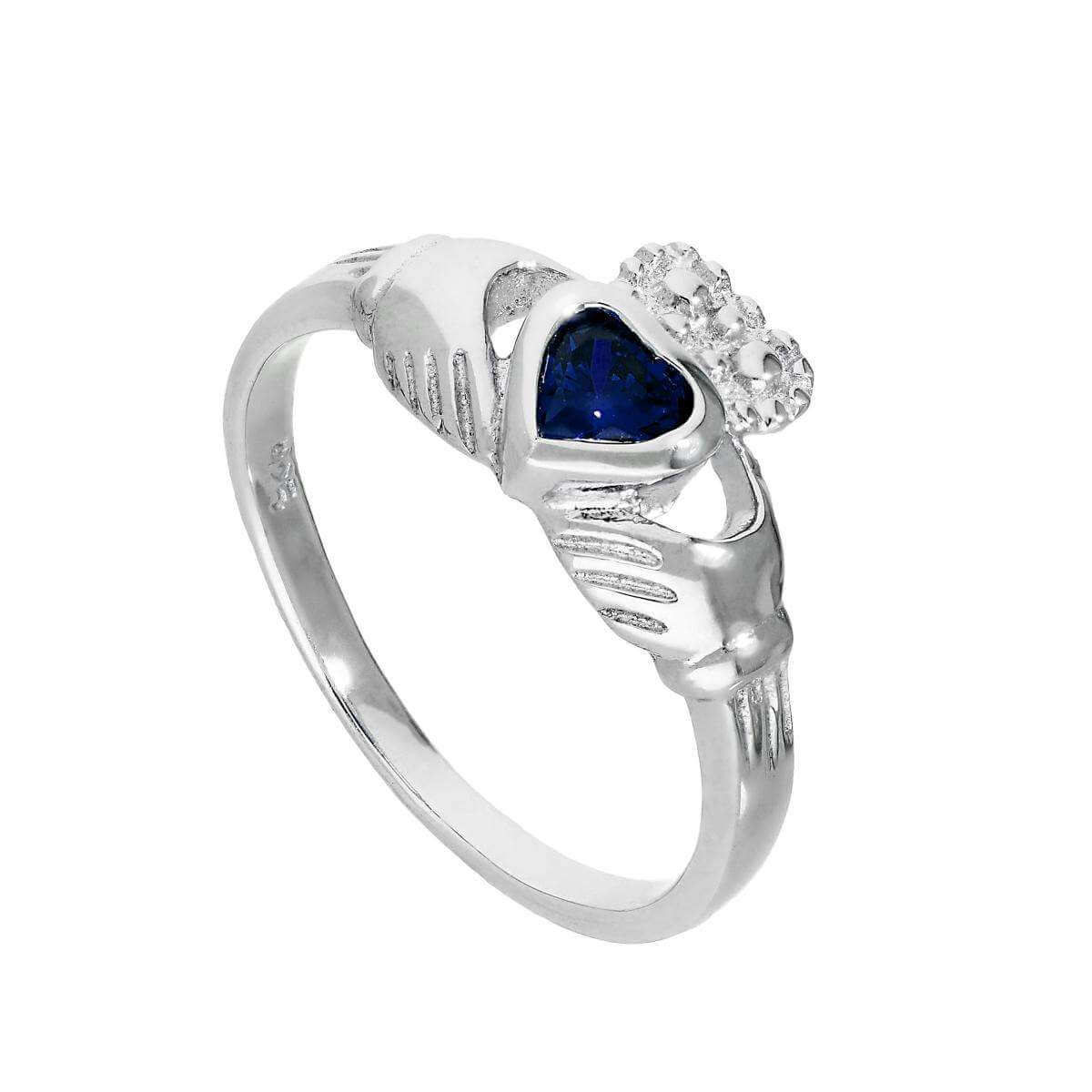 Sterling Silver & Sapphire CZ Crystal September Birthstone Claddagh Ring I - U