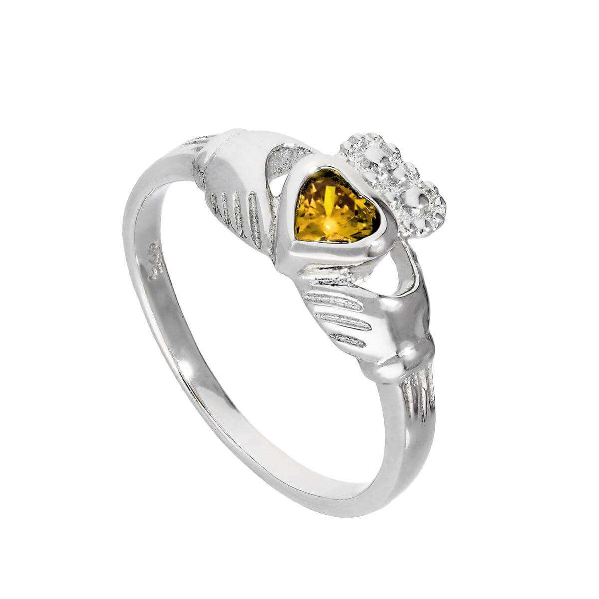 Sterling Silver & Citrine CZ Crystal November Birthstone Claddagh Ring I - U