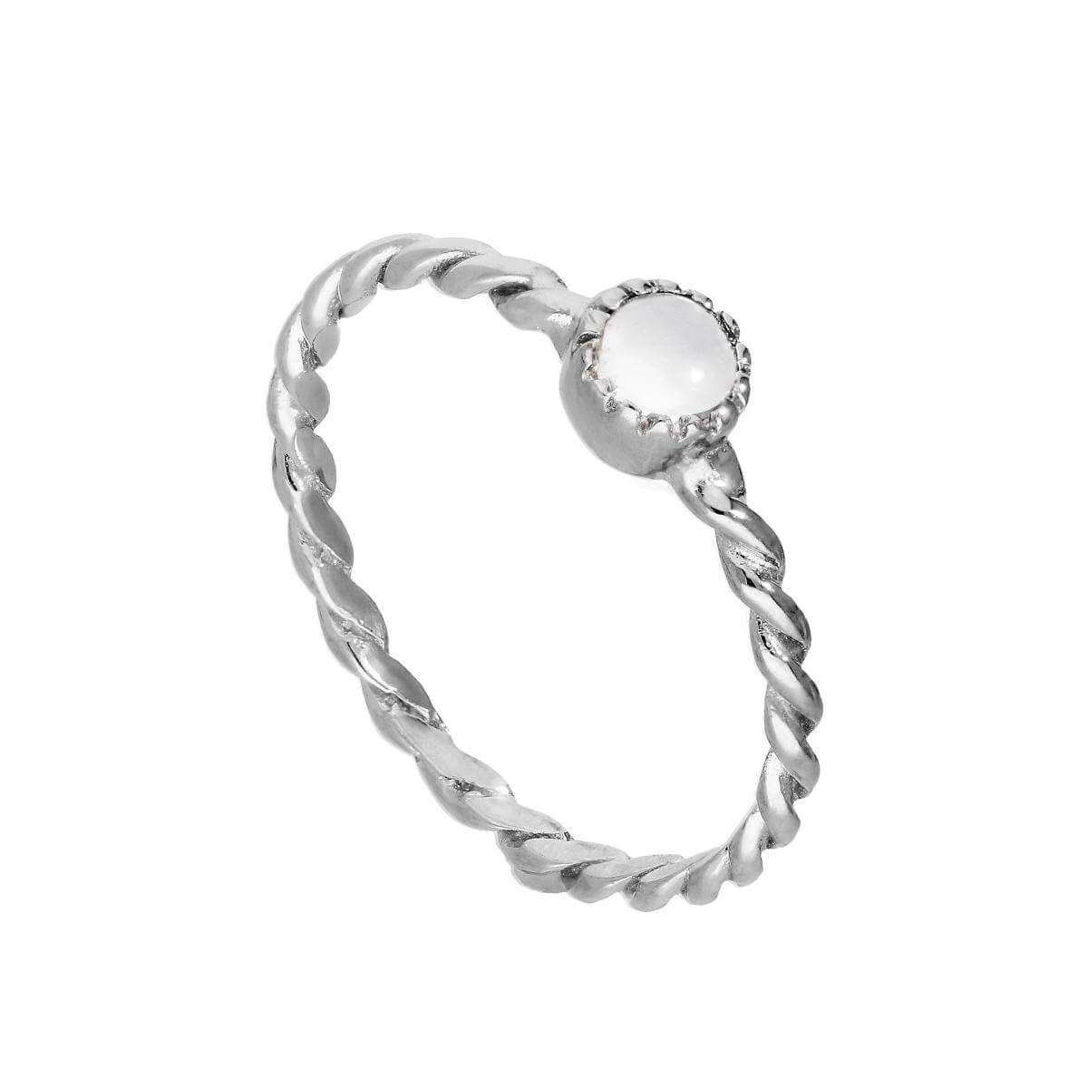 Sterling Silver & Moonstone June Birthstone Twisted Rope Ring I - U