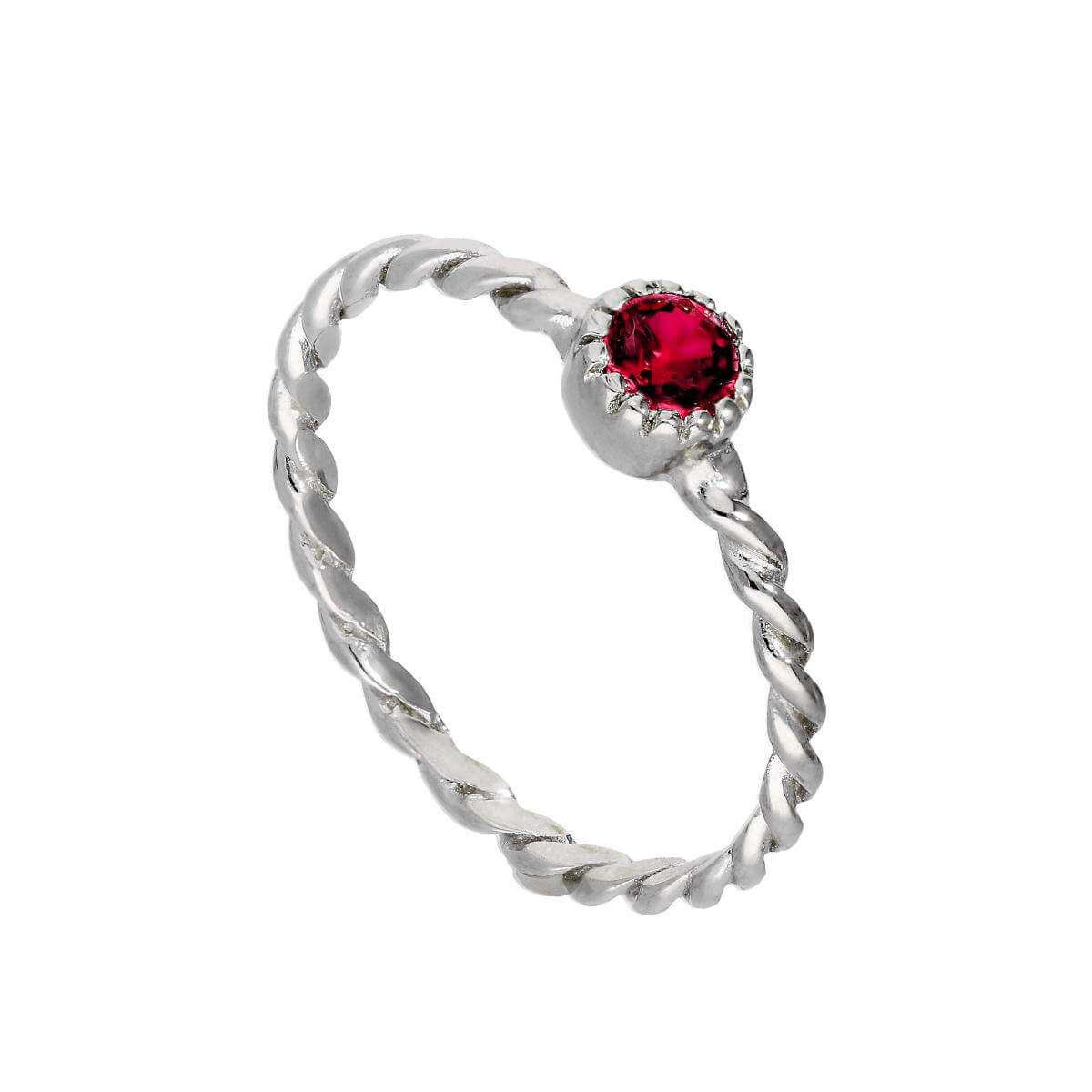 Sterling Silver & Ruby CZ Crystal July Birthstone Twisted Rope Ring I - U