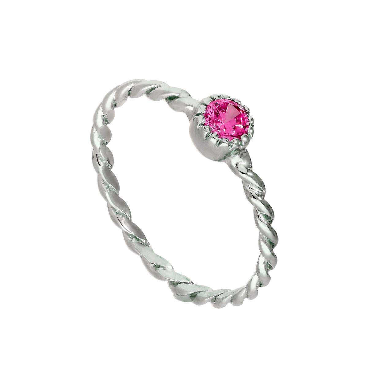 Sterling Silver & Tourmaline CZ Crystal October Birthstone Twisted Rope Ring I - U