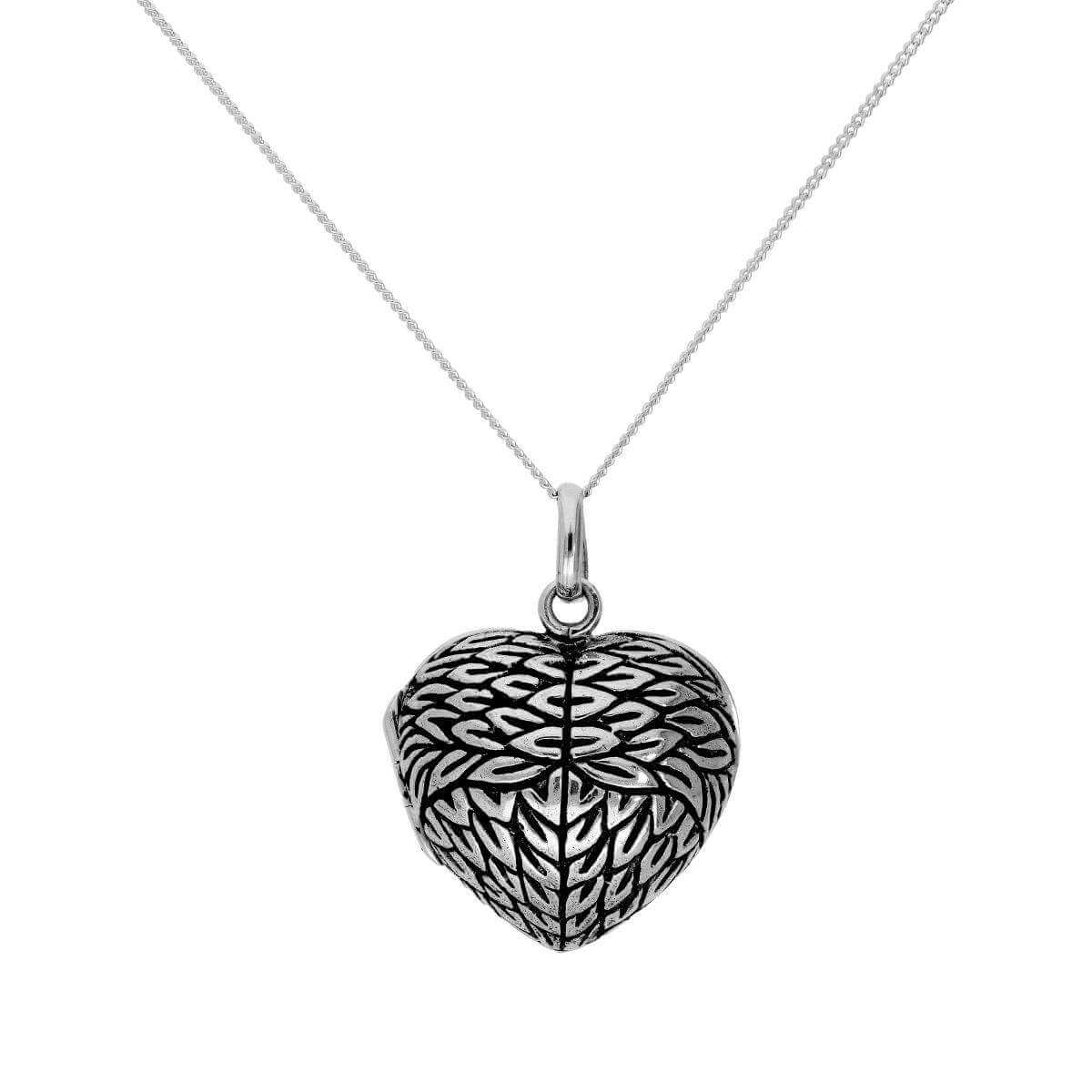 Sterling Silver Engravable Angel Wing Heart Locket on Chain 16 - 22 Inches
