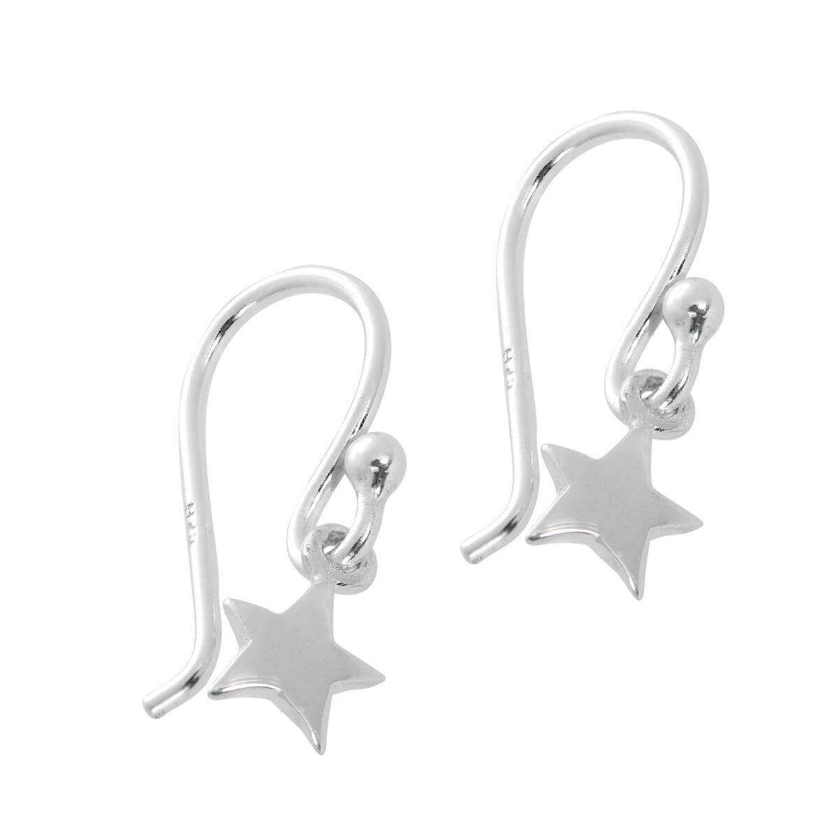 Sterling Silver Star Dangle Drop Earrings