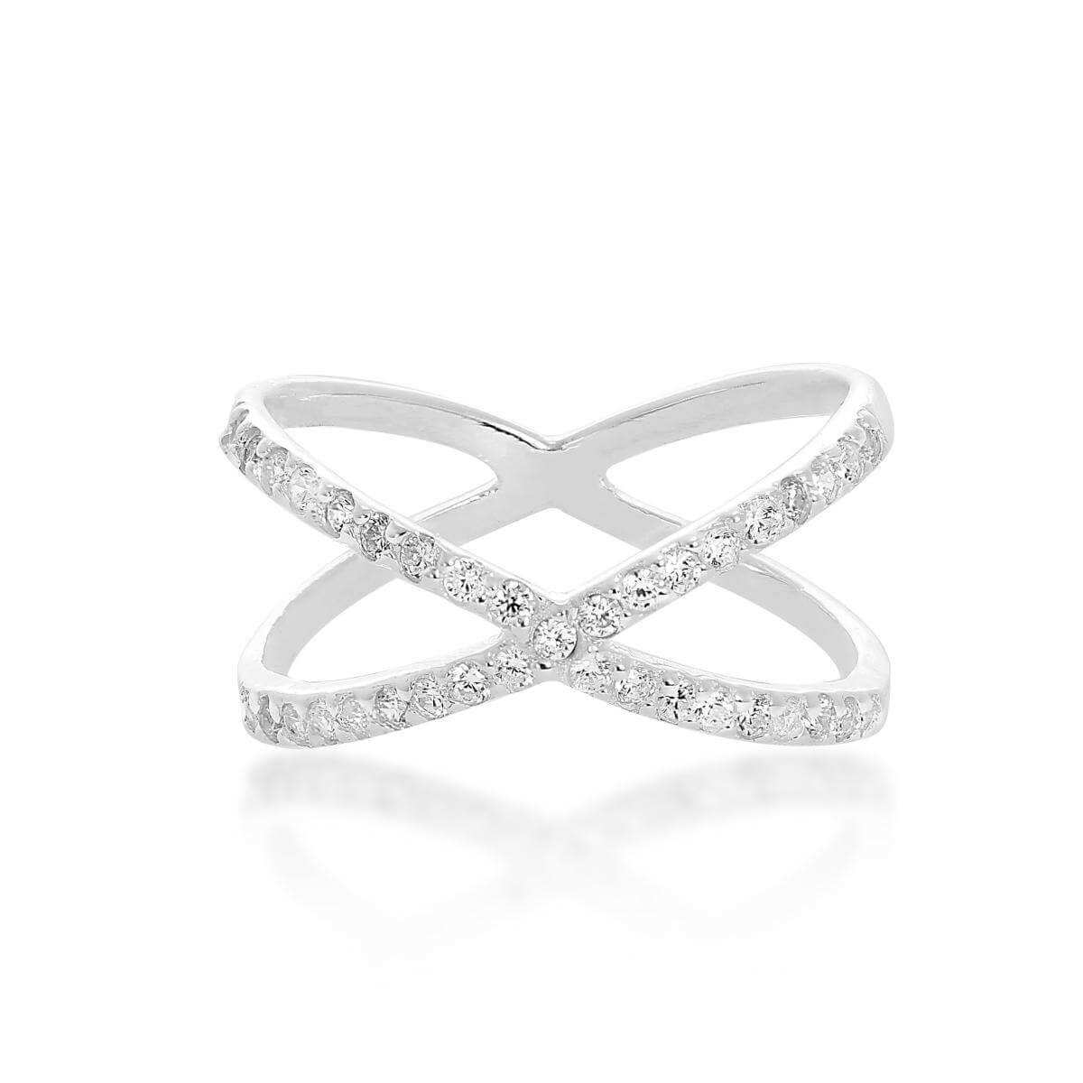 Sterling Silver & Clear CZ Crystal Criss Cross Ring Sizes K - X