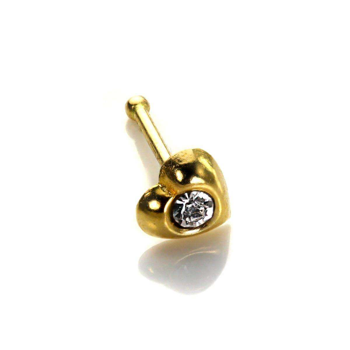 9ct Yellow Gold Clear CZ Heart Nose Stud