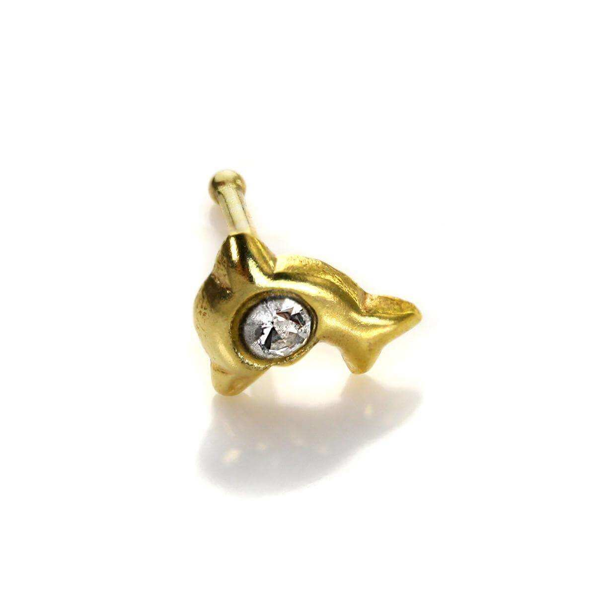 9ct Yellow Gold Clear CZ Dolphin Nose Stud