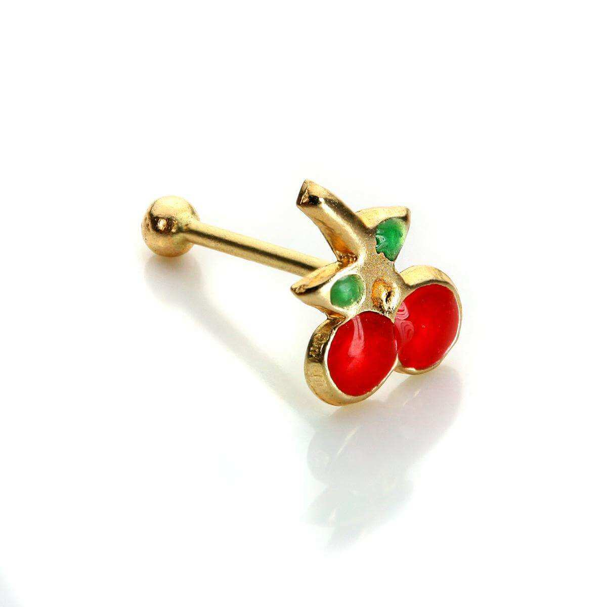 9ct Yellow Gold Cherries Nose Stud