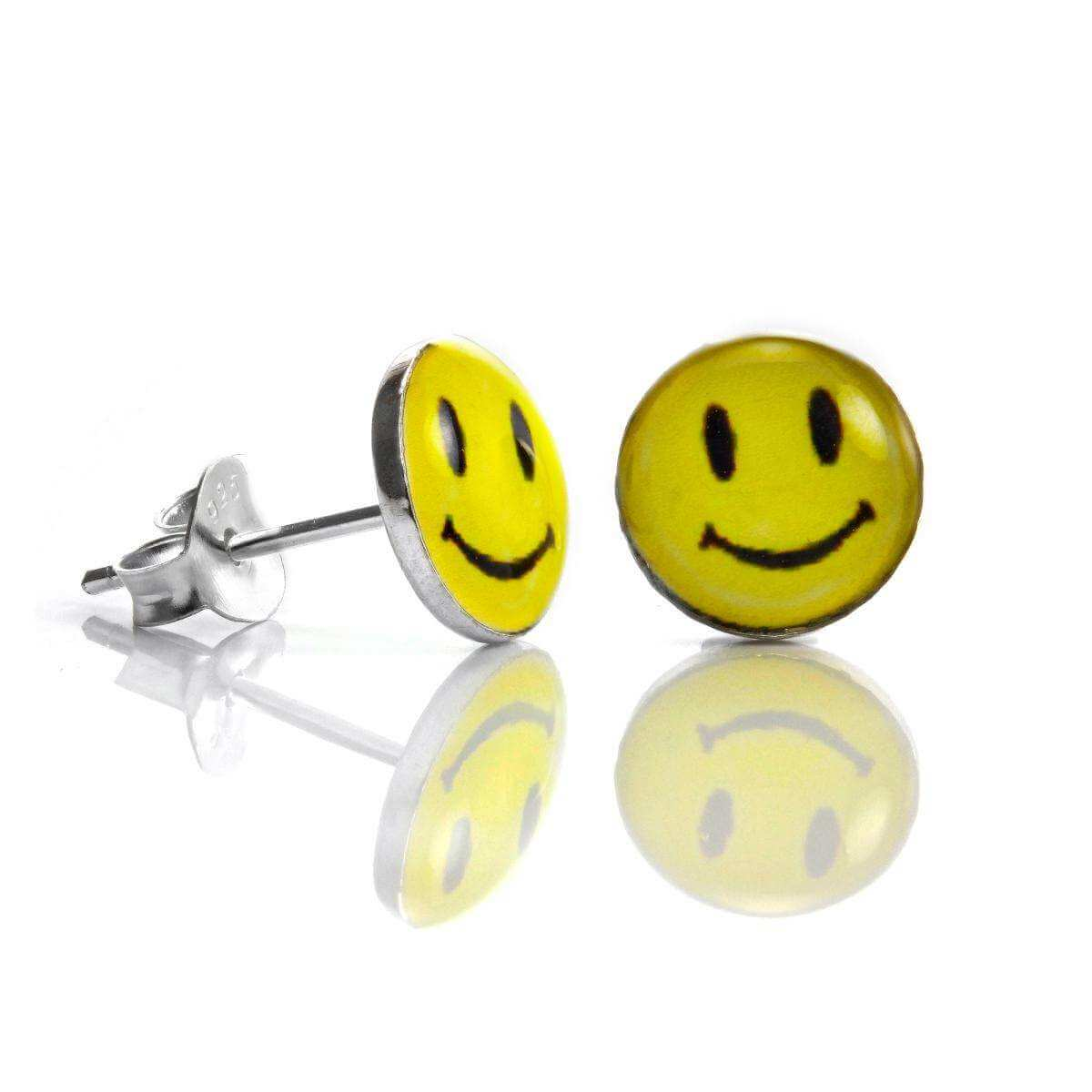 Sterling Silver 8mm Yellow Smiley Face Stud Earrings