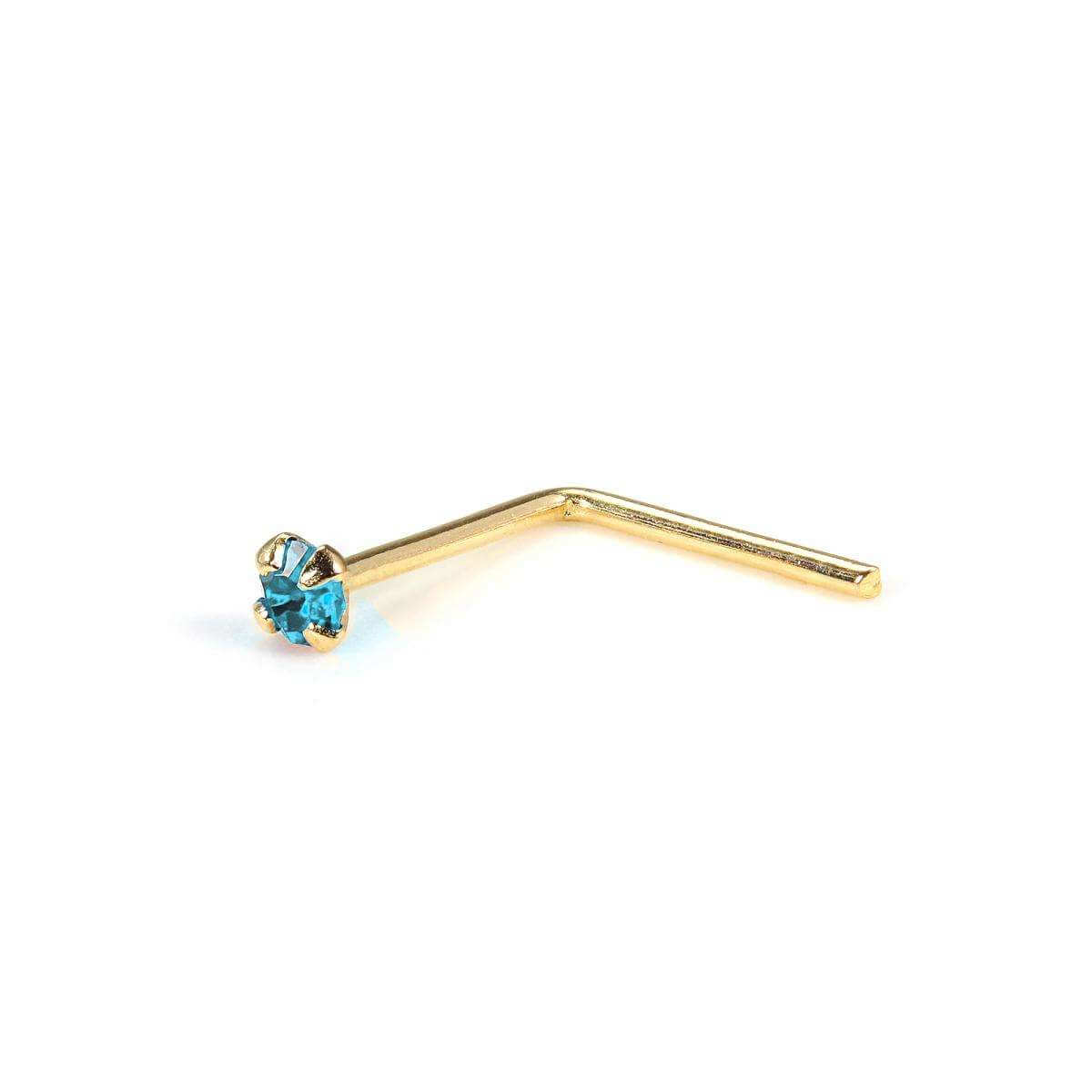 9ct Yellow Gold L-Shaped 1.5mm Round CZ Crystal Aqua Nose Stud
