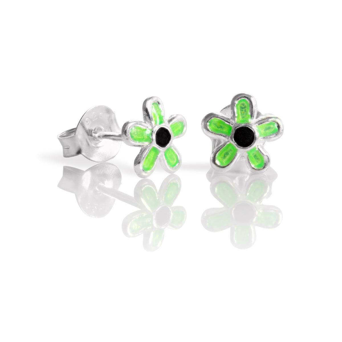 Sterling Silver & Enamel Flower Stud Earrings - Green