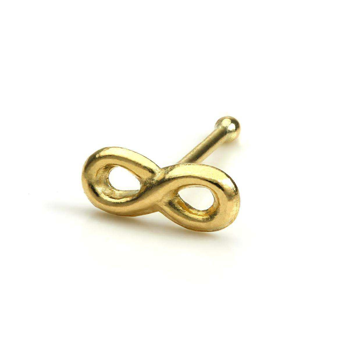 9ct Gold Infinity Loop Ball End Nose Stud