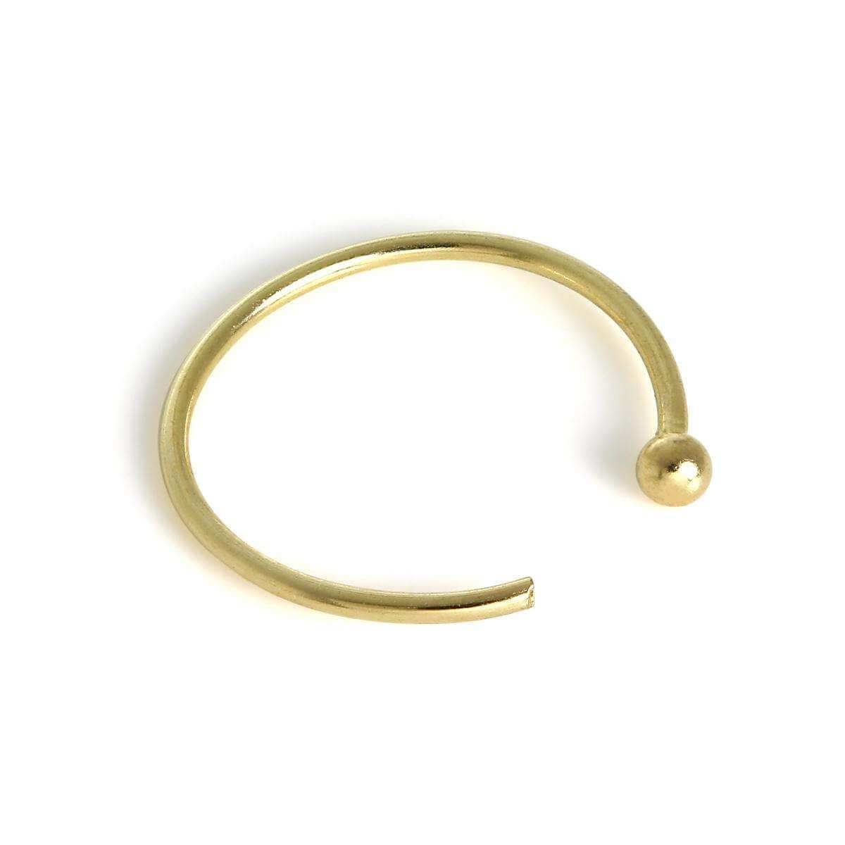 9ct Gold 1mm Ball End Open Nose Hoop Ring