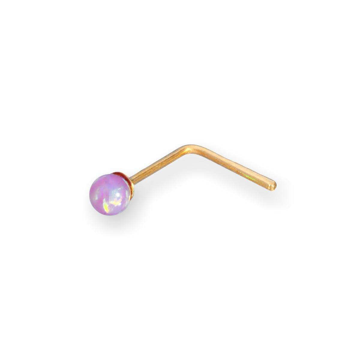 9ct Gold 2mm Pink Opal Stone Nose Stud