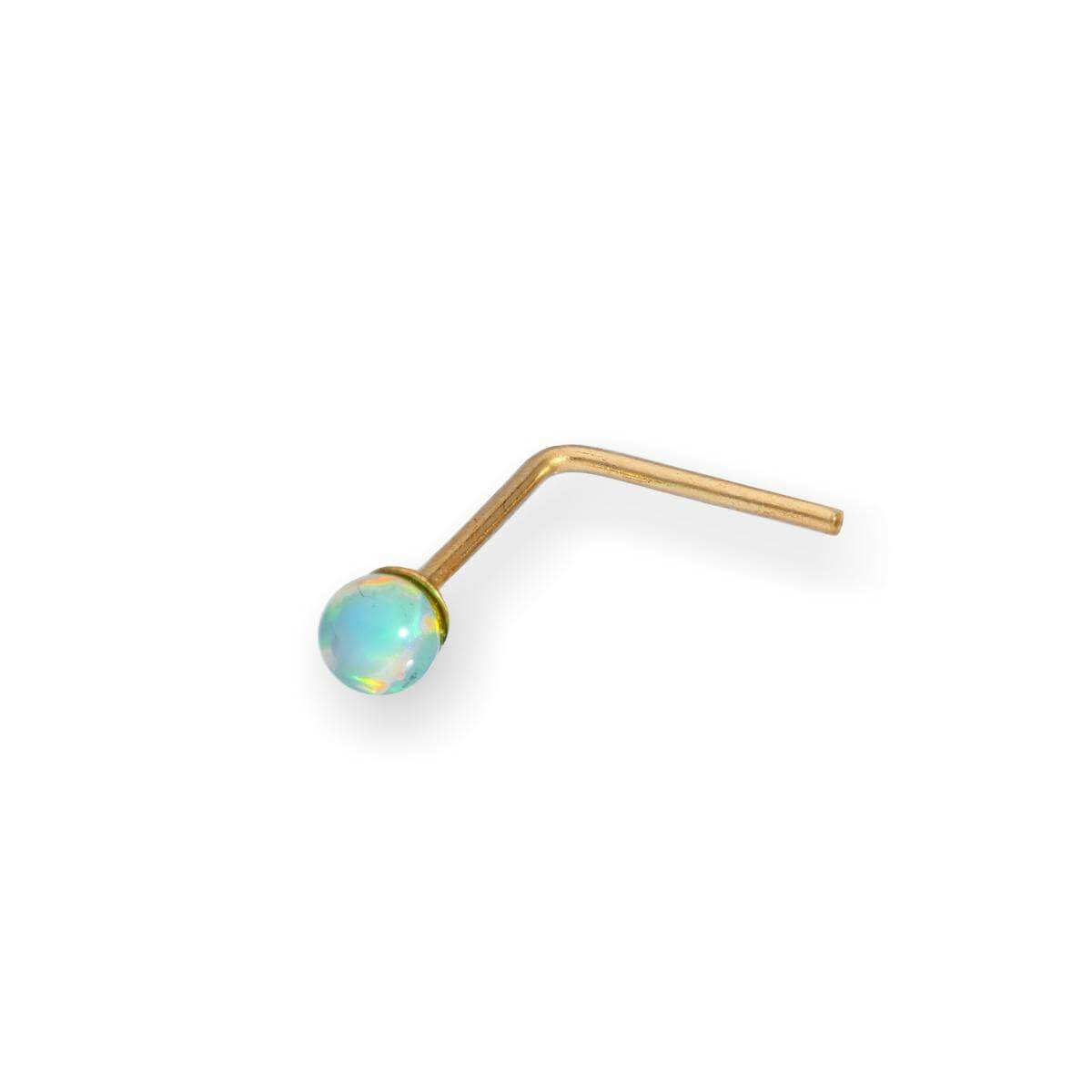 9ct Gold 2mm Light Blue Opal Stone Nose Stud
