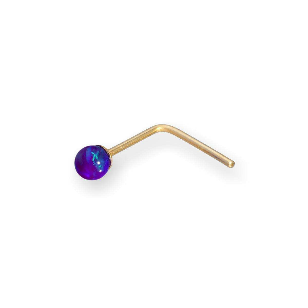 9ct Gold 2mm Purple Opal Stone Nose Stud