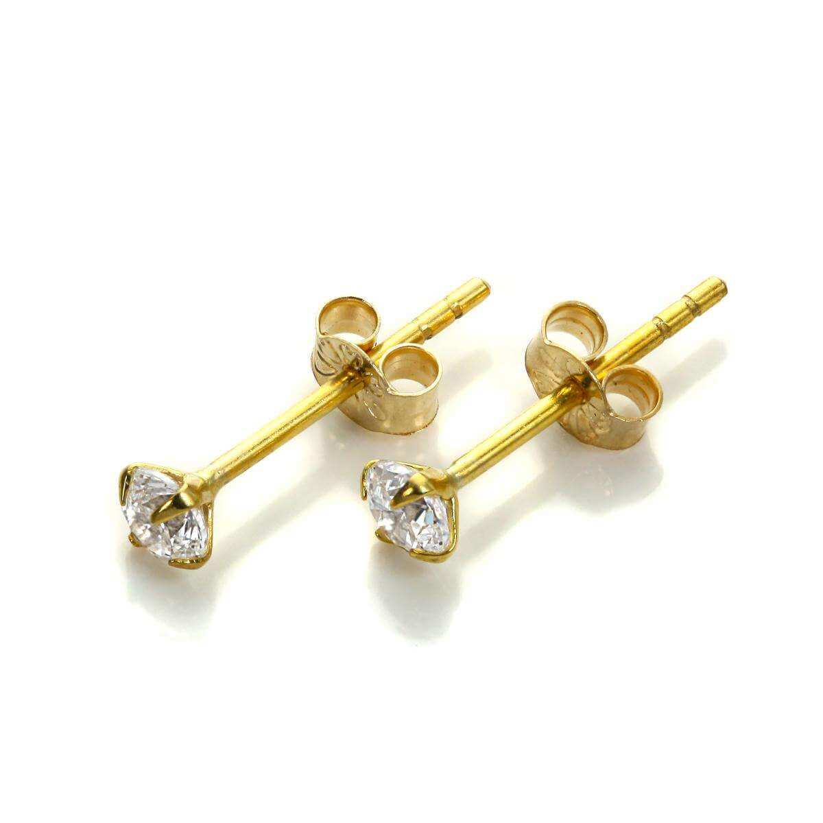 9ct Yellow Gold Clear CZ 3mm Stud Earrings