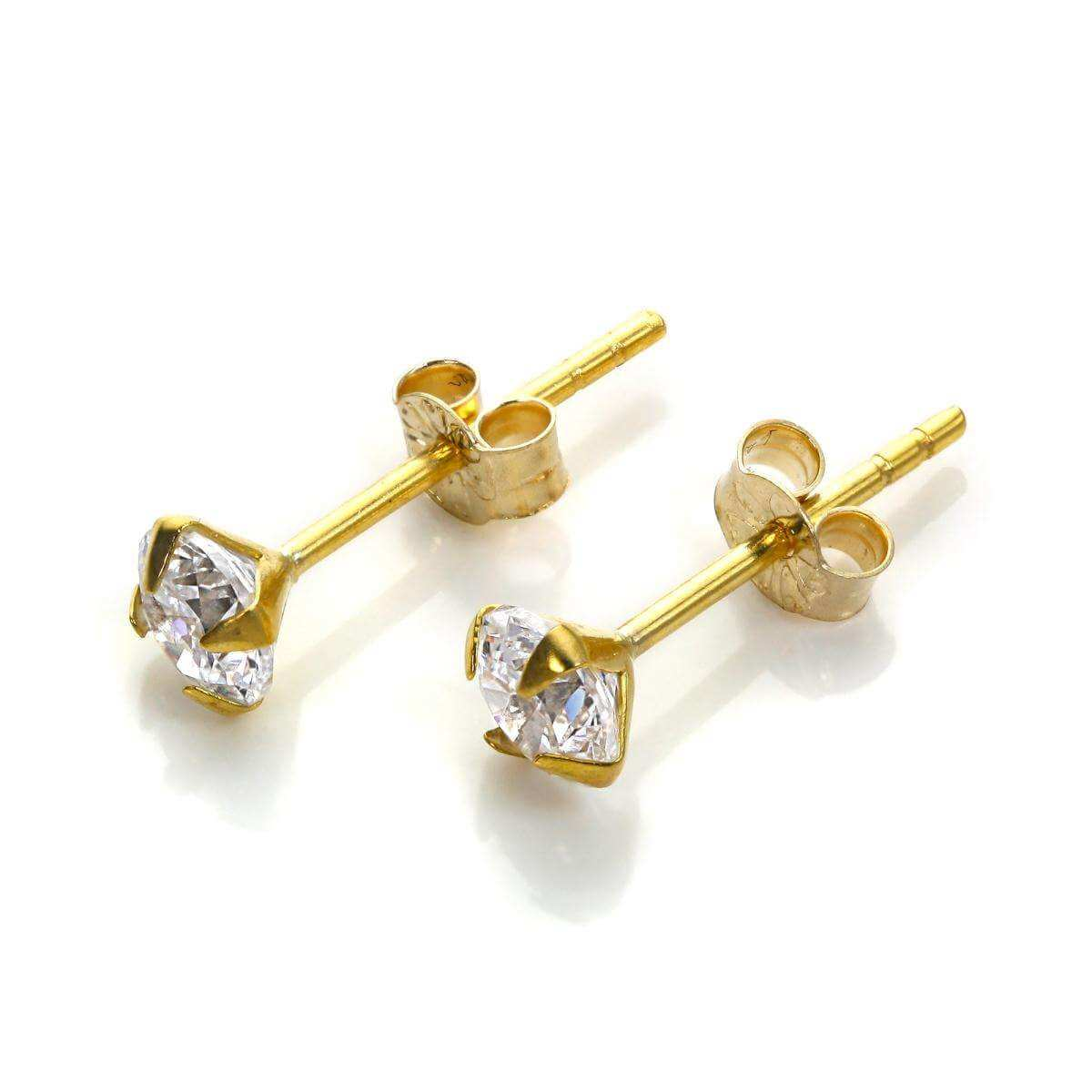 9ct Yellow Gold Clear CZ 4mm Stud Earrings