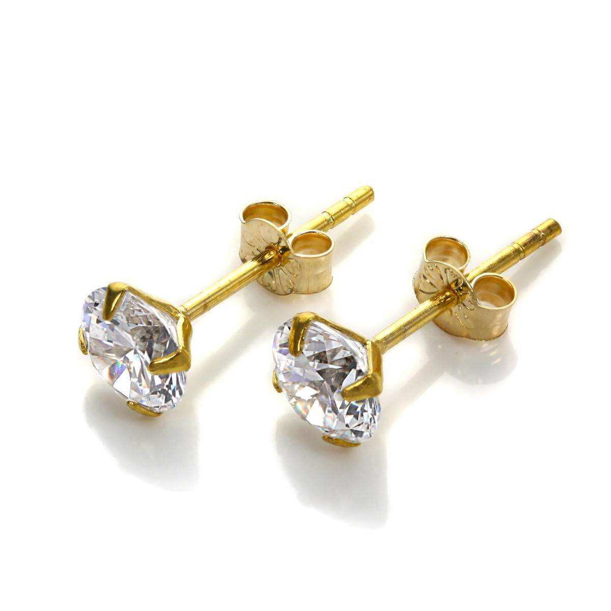 9ct Yellow Gold Clear CZ 5mm Stud Earrings