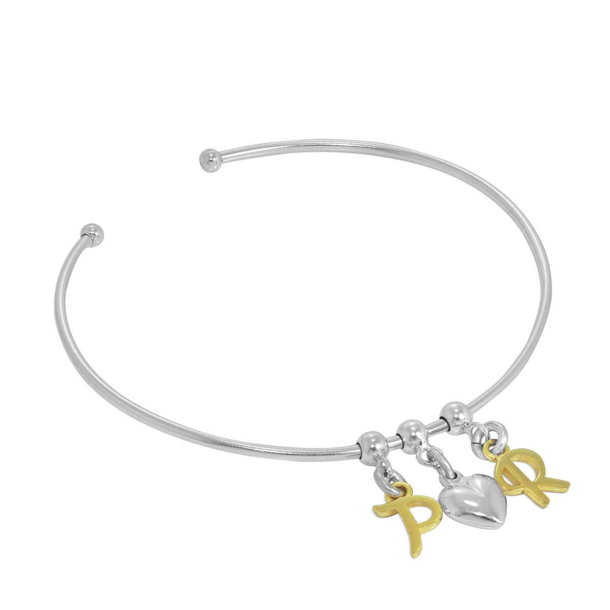 Gold Plated Sterling Silver Initial Letter & Heart Adjustable Cuff Charm Bangle