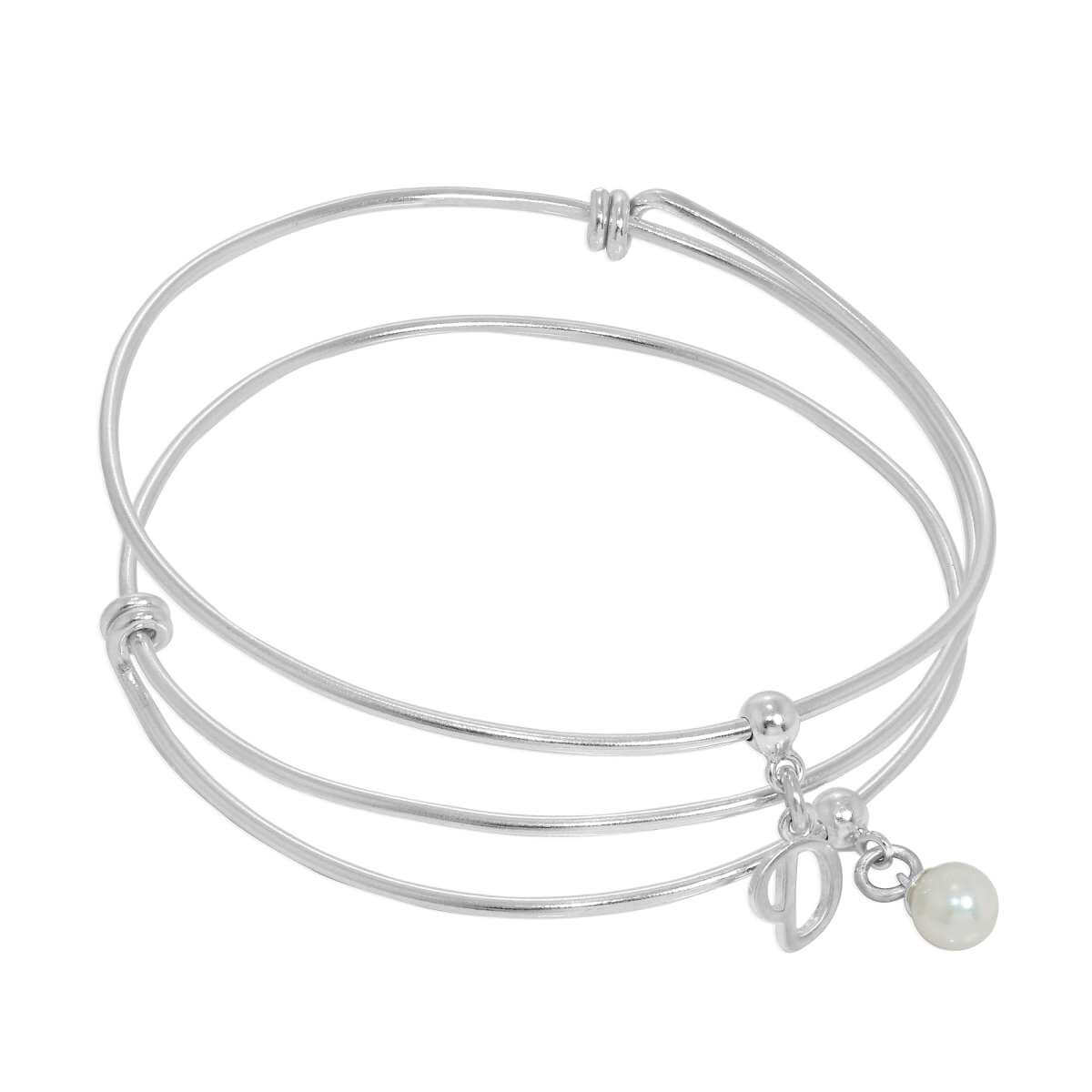 Sterling Silver Initial Letter & Pearl or Heart or Infinity Adjustable Charm Bangle