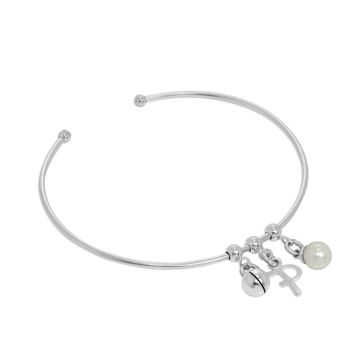 Sterling Silver Initial Letter & Pearl & Chiming Ball Adjustable Cuff Charm Bangle