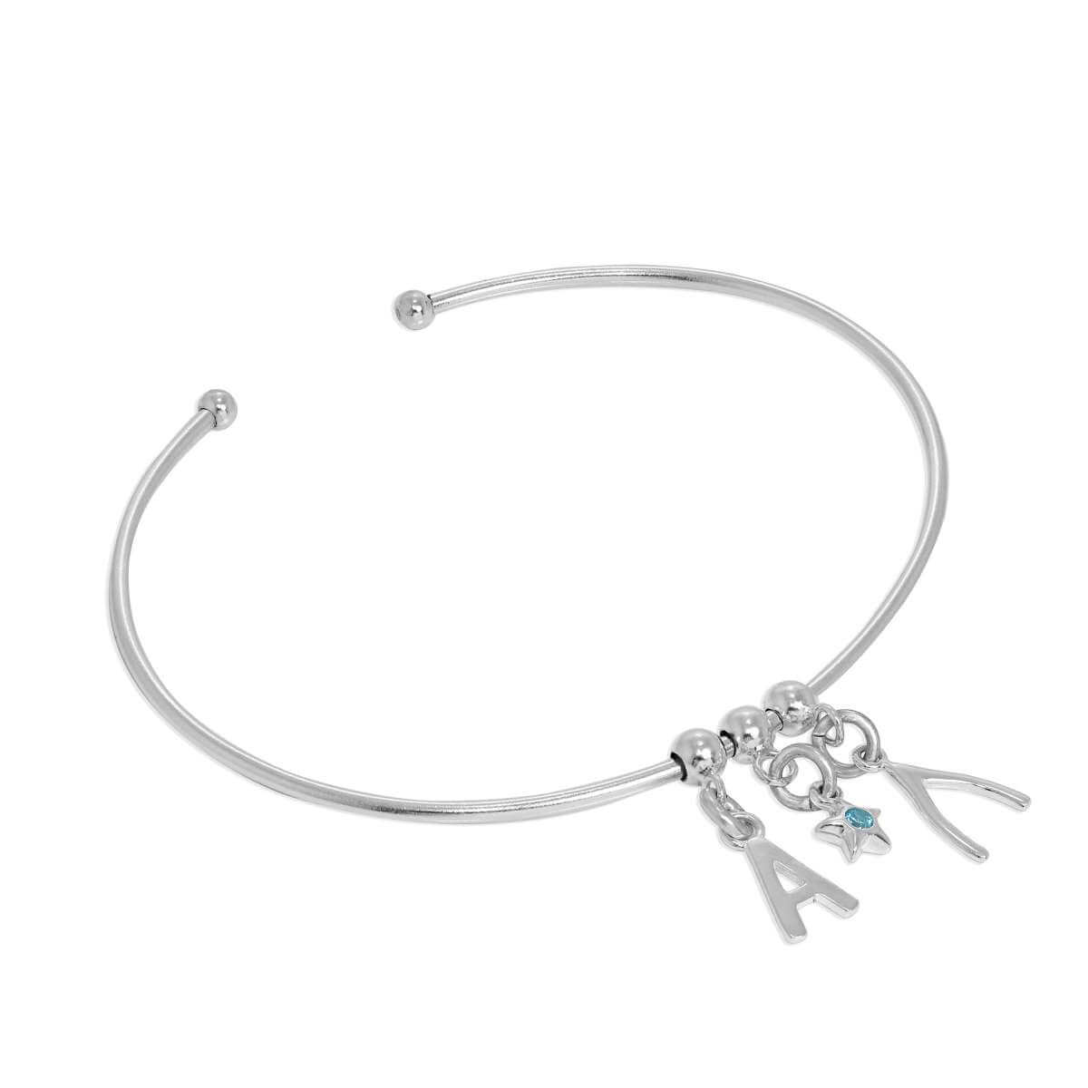 Sterling Silver Initial Letter & Birthstone Star & Wishbone or Ball Adjustable Cuff Charm Bangle