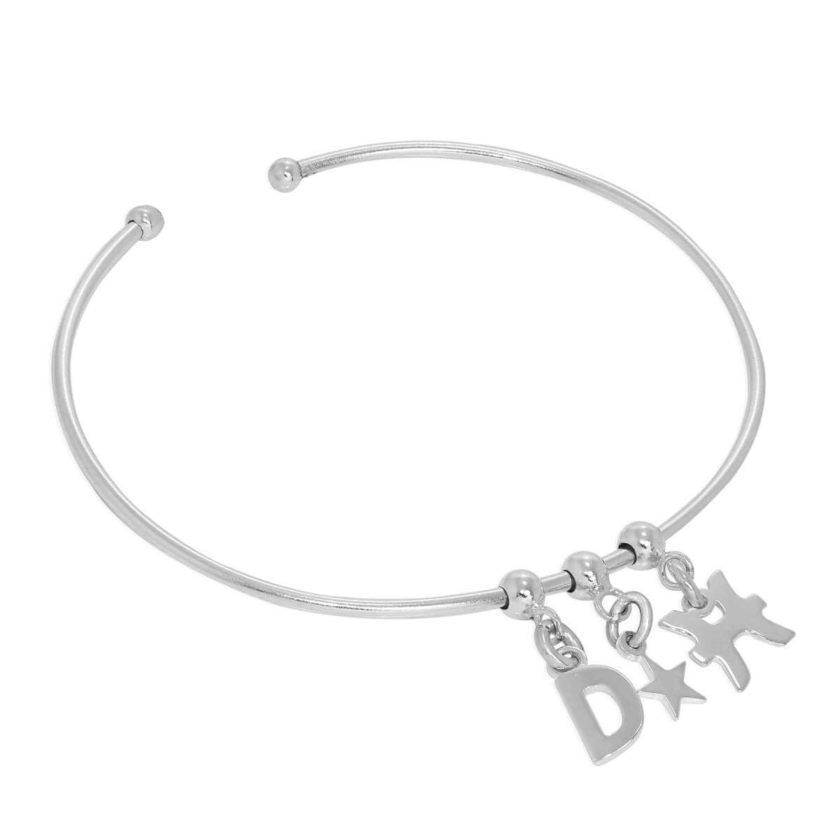 Sterling Silver Initial Letter & Tiny Star & Star Sign Adjustable Cuff Charm Bangle
