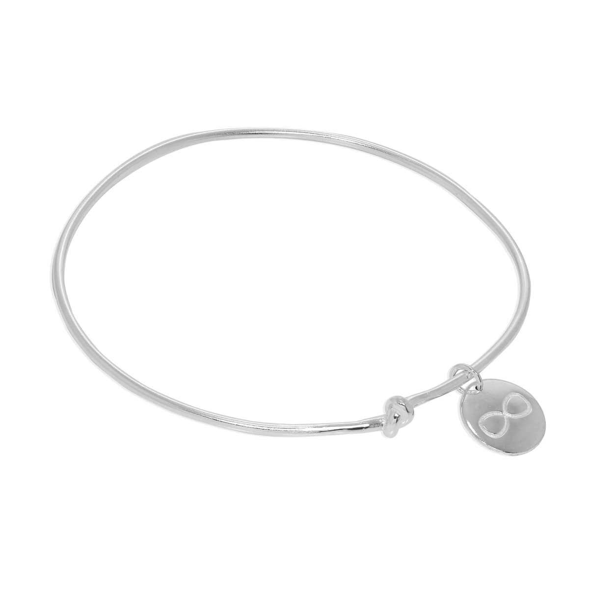 Sterling Silver Personalised Infinity Charm Knot Bangle