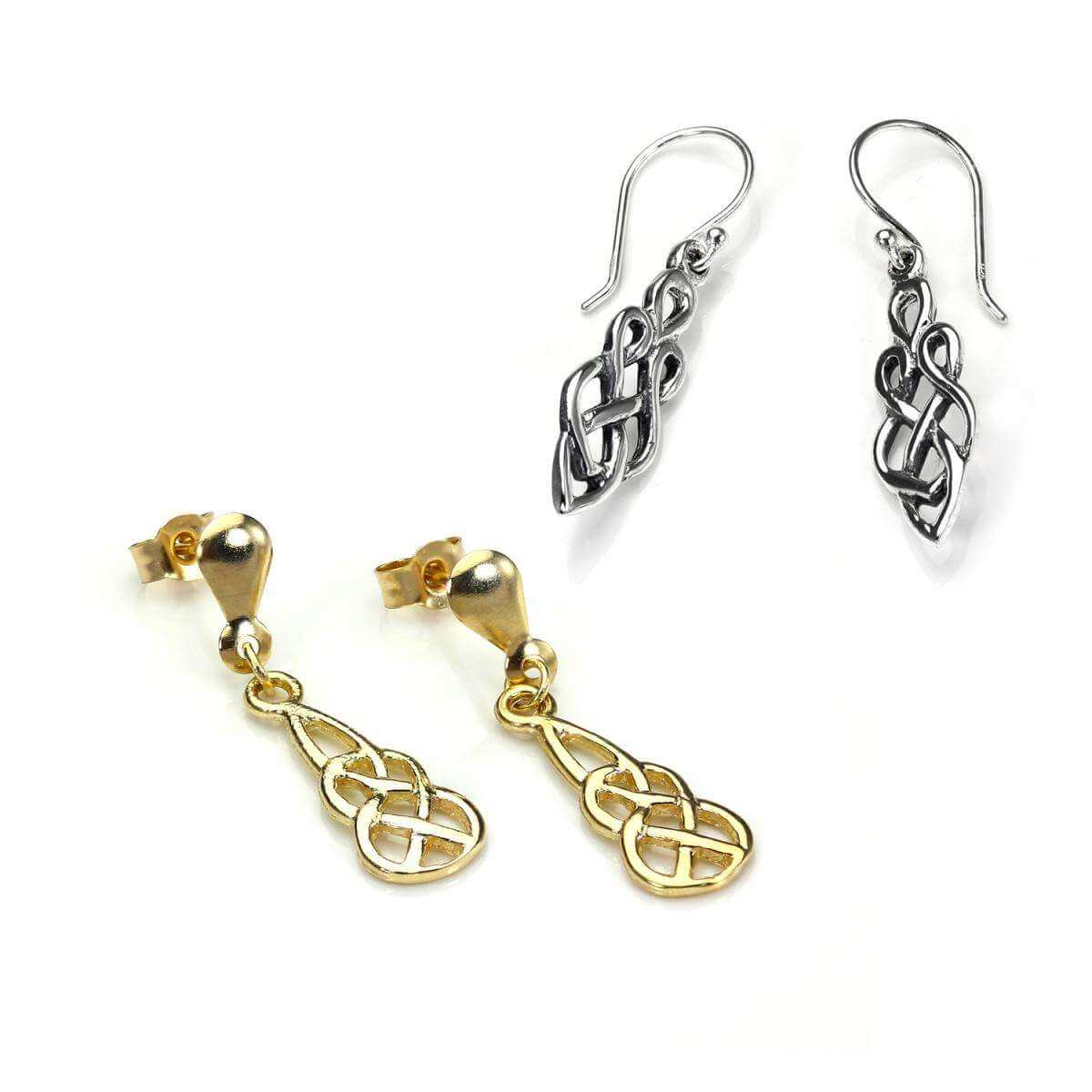 Sterling Silver & 9ct Gold Celtic Knot Earrings Set