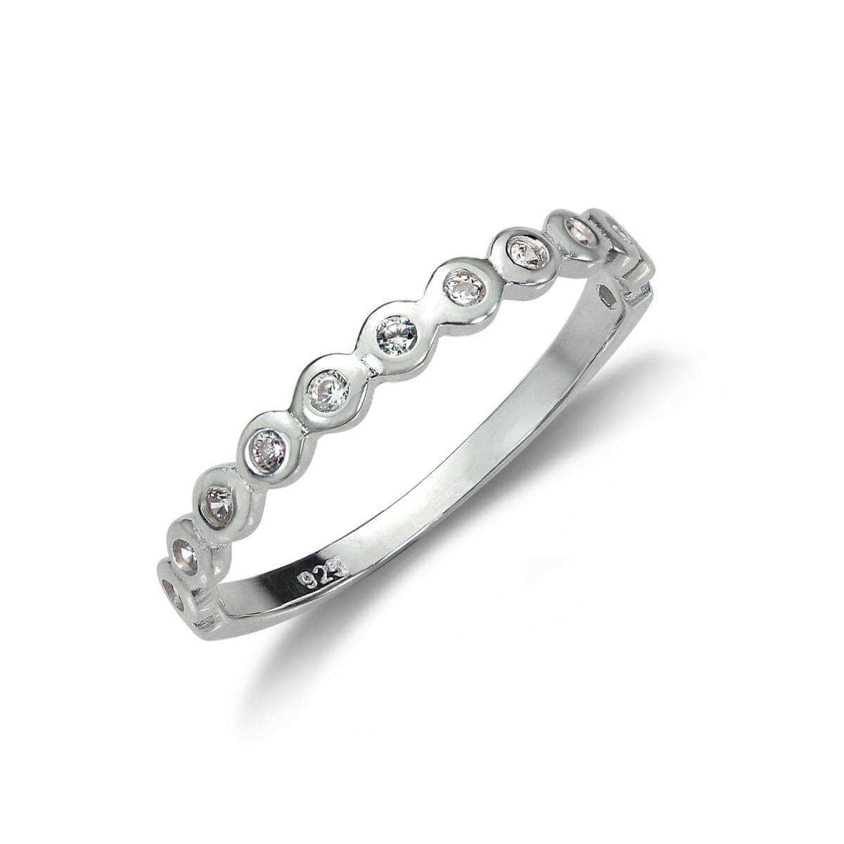 Sterling Silver Half Eternity with dots Ring - UK Size J-U