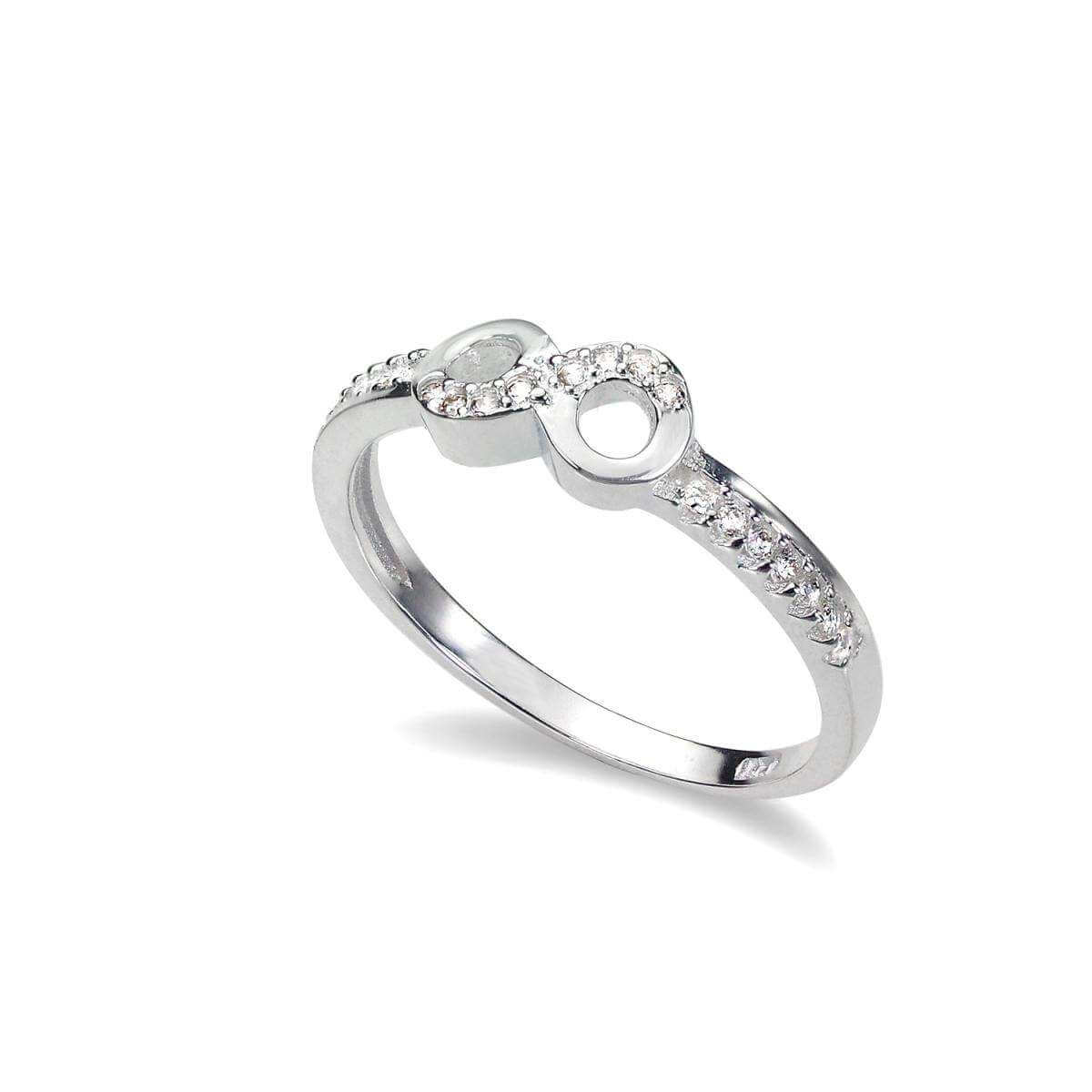 Sterling Silver Half Eternity with dots Ring - UK Size I-U fEPenR5