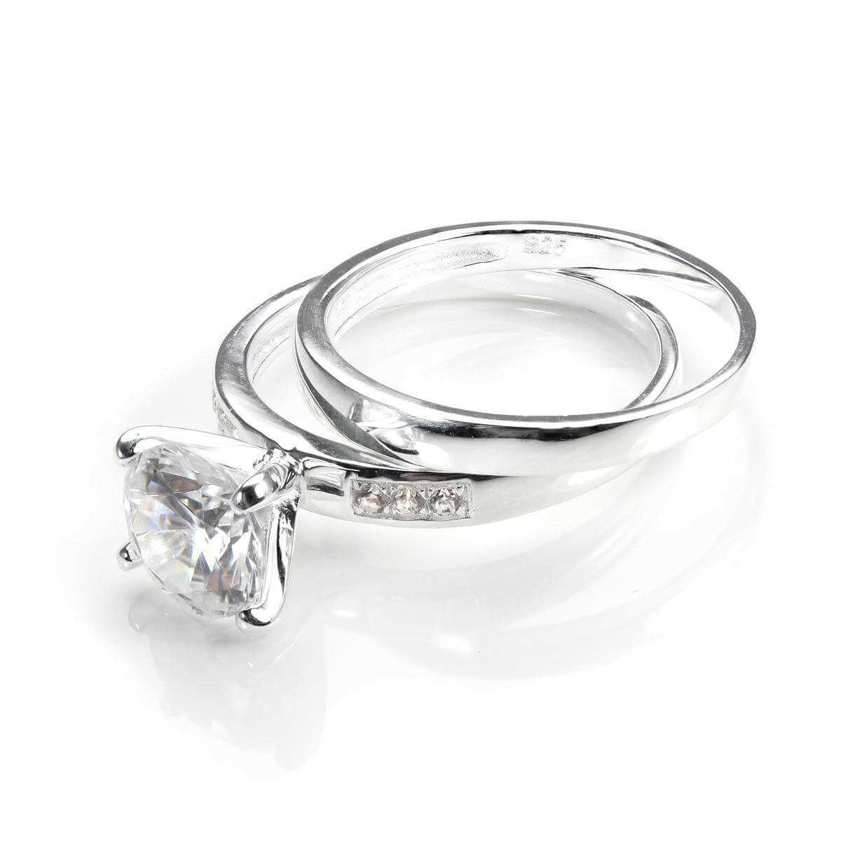 Sterling Silver & CZ Crystal Engagement Ring & Wedding Band Set