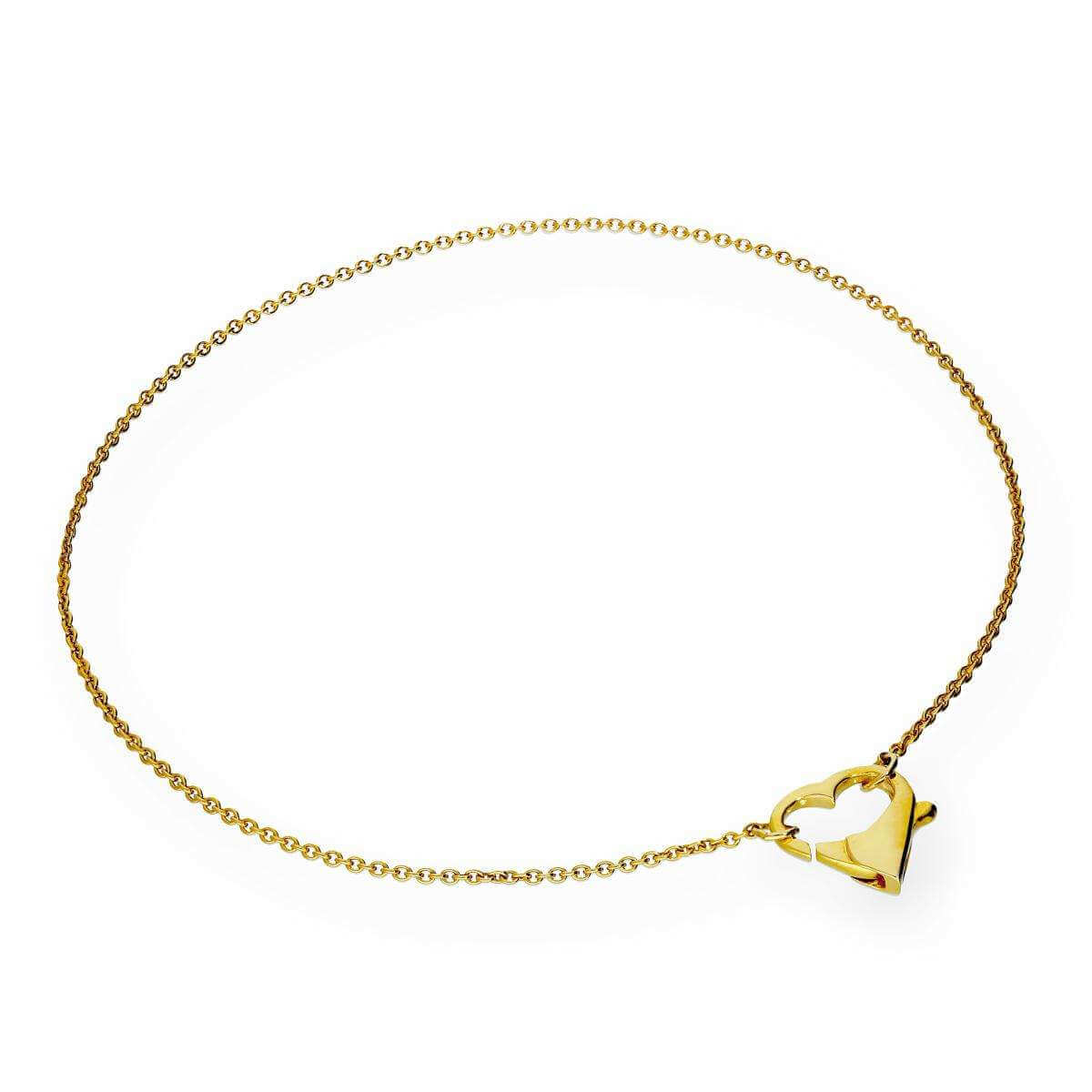 9ct Gold 7.5 Inch Bracelet with Heart Clasp
