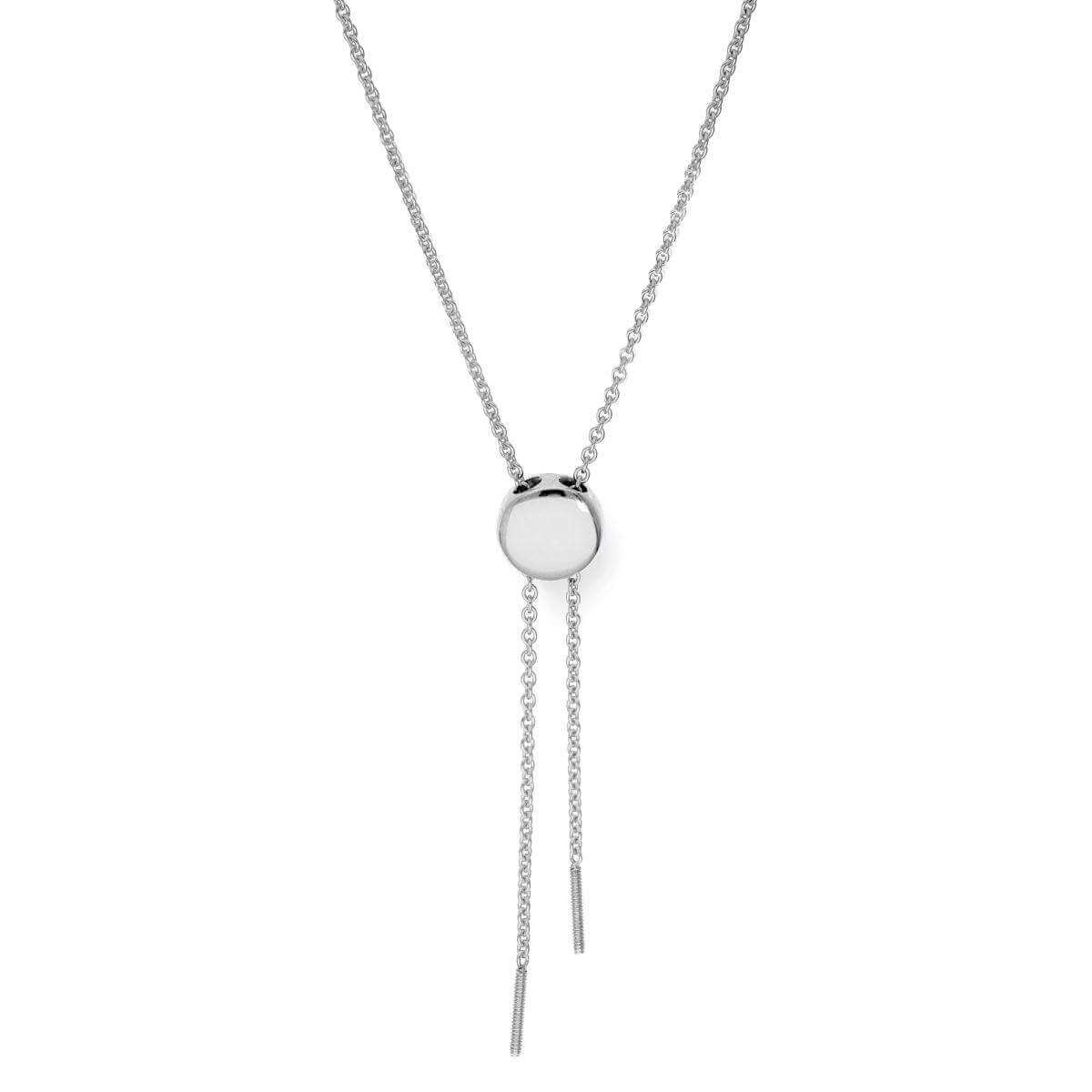 9ct Rhodium Plated White Gold Adjustable Necklace w Max Length 26 Inches