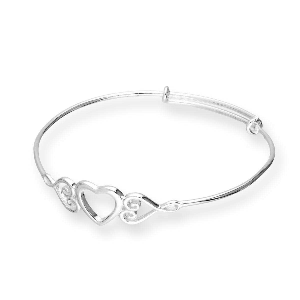 Sterling Silver Triple Open Heart Childs Adjustable Bangle