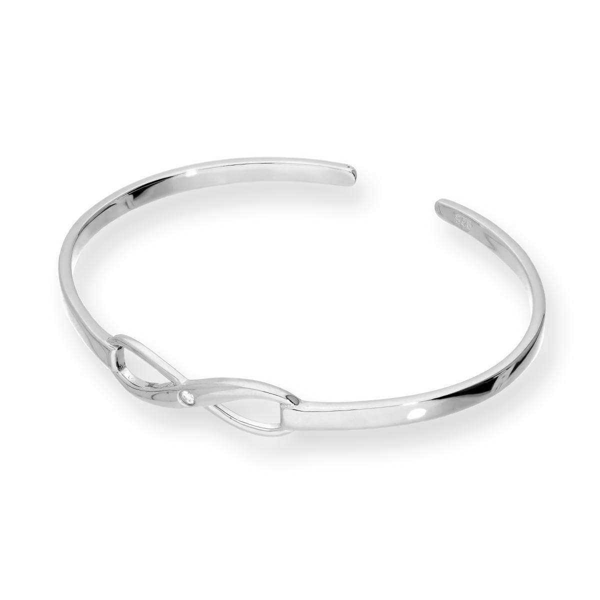 Sterling Silver & Clear CZ Crystal Infinity Bangle
