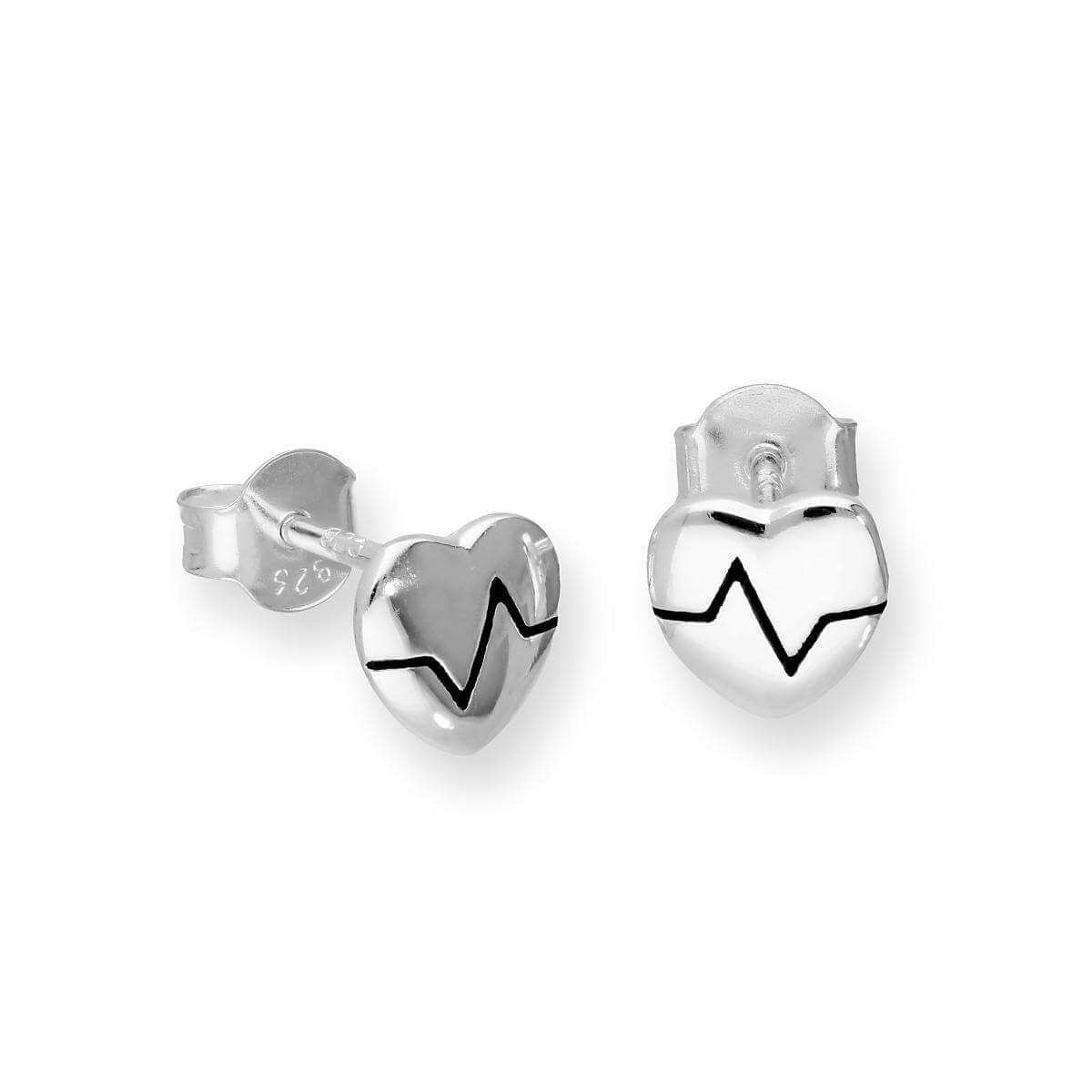 Sterling Silver Heart w Heartbeat Stud Earrings