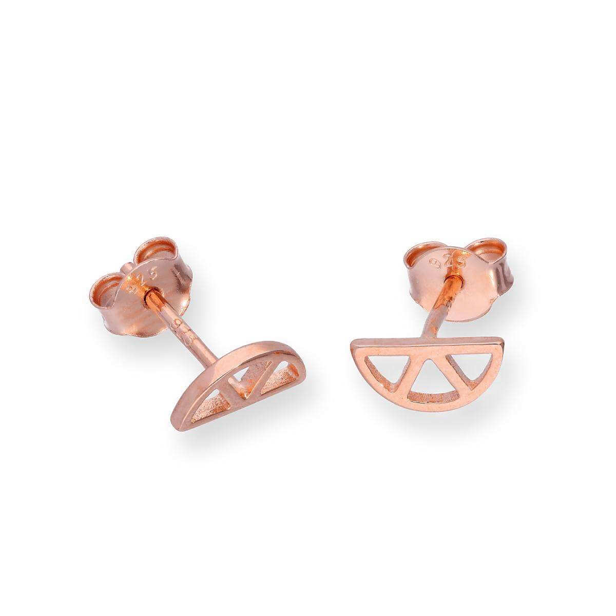 Rose Gold Dipped Sterling Silver Cut Out Lemon Slice Stud Earrings