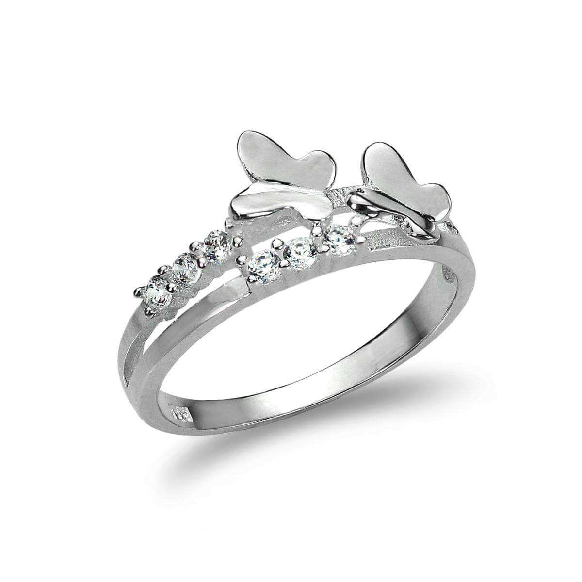 Sterling Silver Split Band Ring with CZ Crystal & Butterflies - UK Size J-U